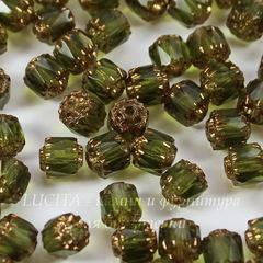 Бусина Crown Picasso Бочонок с огранкой, 6 мм, оливковая с бронзой