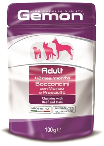 Gemon Dog Adult Pouch Chunkies with Beef & Ham