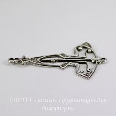 Винтажный декоративный элемент - коннектор Art Deco (1-1) 33х18 мм (оксид серебра)