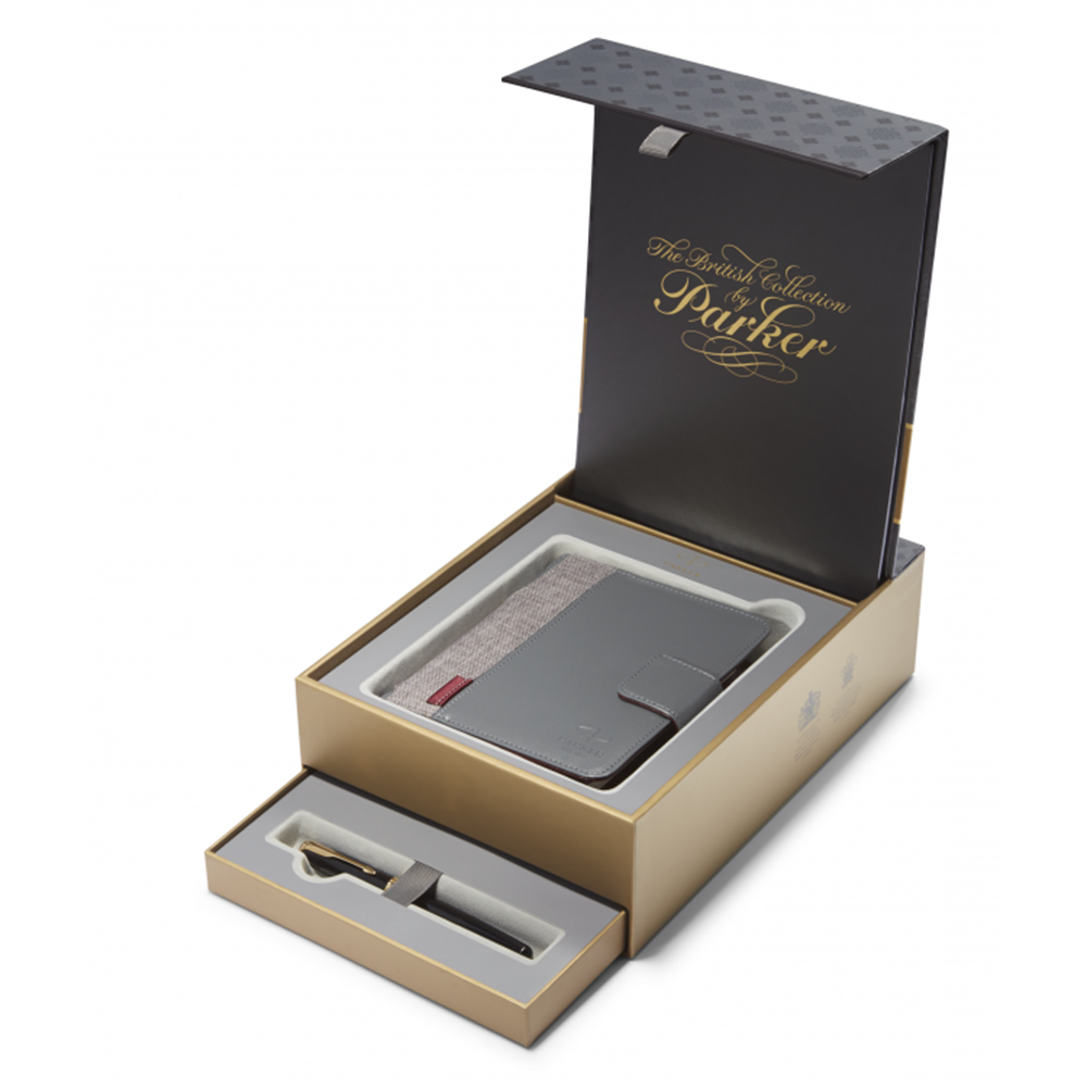 Набор подарочный Parker Sonnet - Essential Black Lacquer GT, перьевая ручка, F + блокнот и органайзе