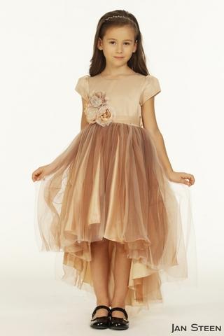 Нарядное кремовое платья со шлейфом (арт.CB1913)