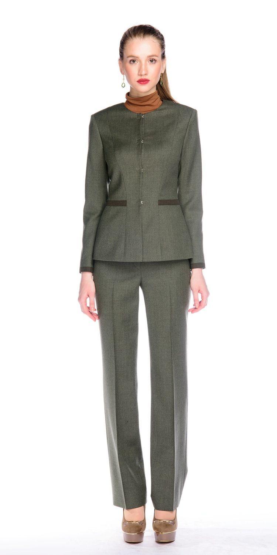 Жакет Д498-112 - Жакет прилегающего силуэта из класиической костюмной ткани. Потайная застежка на крючки. Отделка по низу рукавов и вставки на талии из ткани-компаньона с меланжевым эффектом в тон брюк. Подкладка из поливискозы. В комплект предлагается юбка из такой же ткани либо брюки из ткани-компаньон