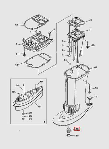 Подшипник торсионного вала для лодочного мотора T40 Sea-PRO (22-16)