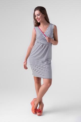 Платье 06199 бело-синяя полоска