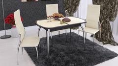 Стол обеденный раздвижной «Ницца» Венге/Кожа бежевая