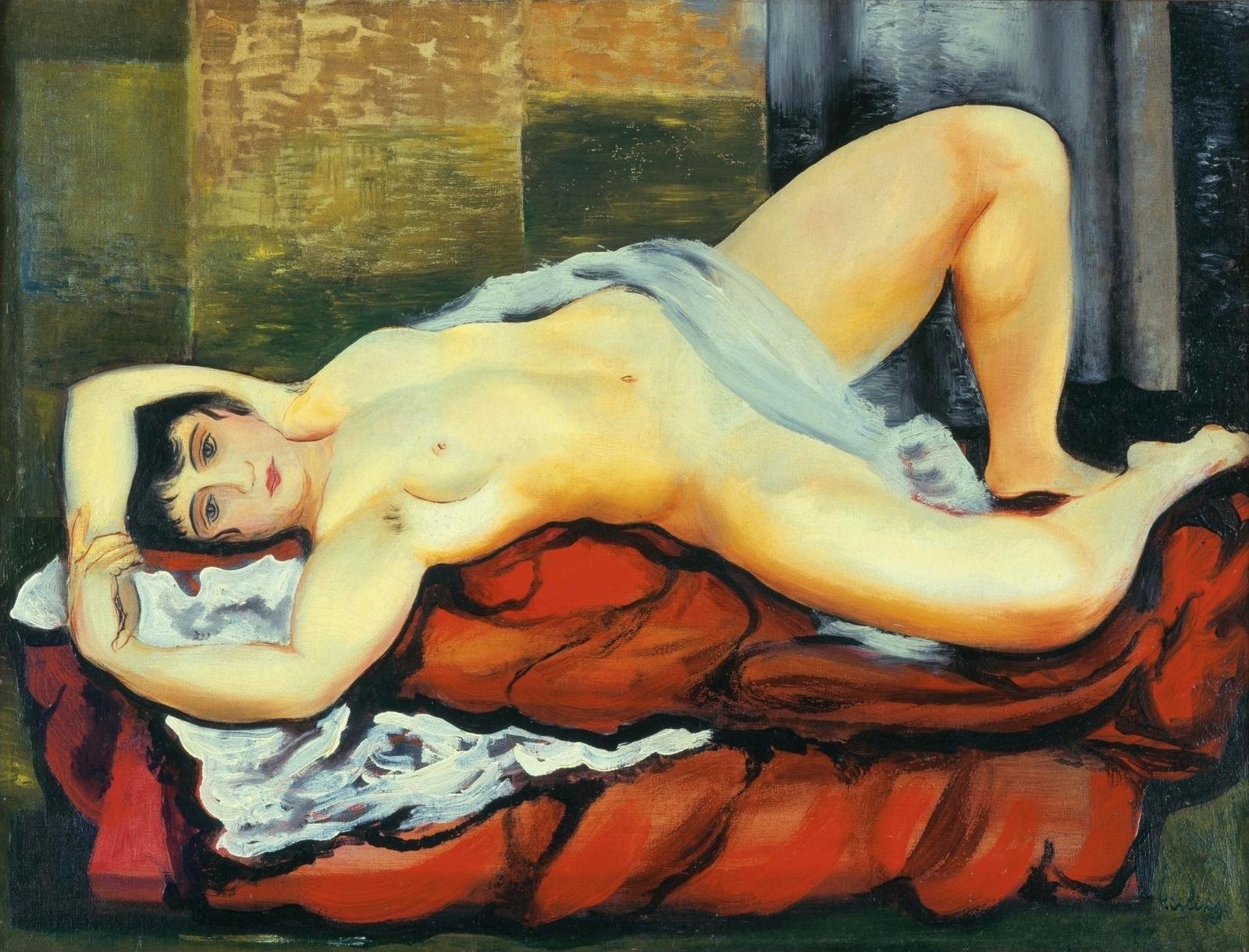 Моисей Кислинг. 1919. Лежащая обнаженная на белой простыне (Reclining Nude On White Sheet). 46 х 61. Холст, масло. Частное собрание.
