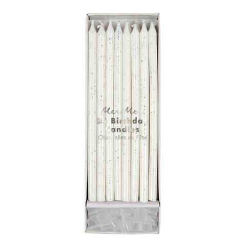 Свечи восковые с блестками, серебро