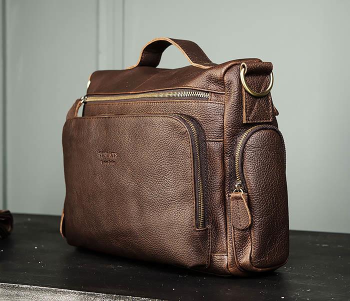 BAG466-2 Мужской портфель из натуральной кожи с ремнем фото 04