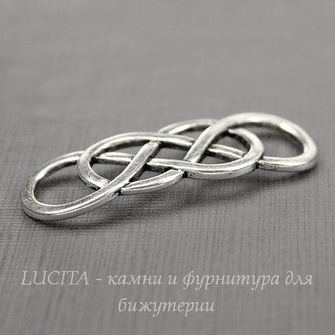 """Коннектор """"Китайский узел"""" 42х16 мм (цвет - античное серебро)"""
