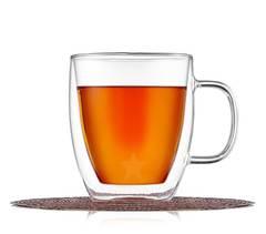 Кружка с двойным стеклом 475 мл для кофе и чая стеклянная, прозрачная