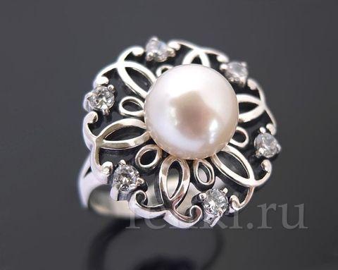 кольцо из серебра с жемчугом белым речным_фото