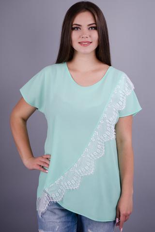 Джулия. Красивая футболка батал. Мята.