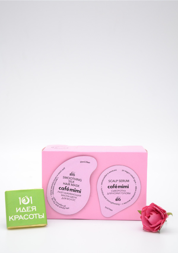 Cafe Mimi Разглаживающая маска-шелк для сухих и непослушных волос с маслом камелии, 20мл