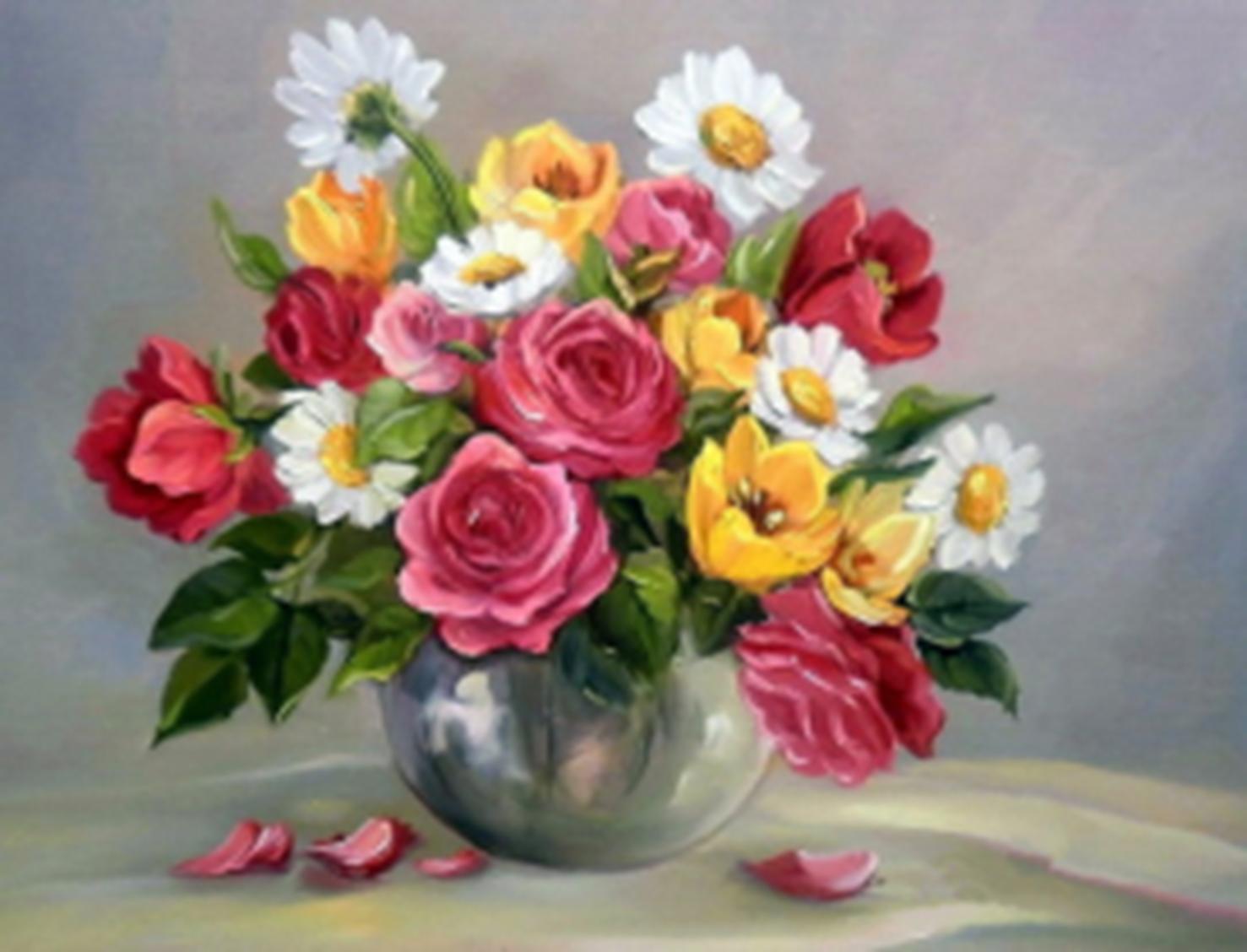 Картина раскраска по номерам 30x40 Цветы в металической ...