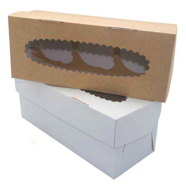 Коробка на 3 капкейка c окном