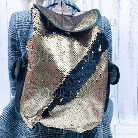 Рюкзак-мешок с пайетками бронзово-чёрный меняющий цвет Like