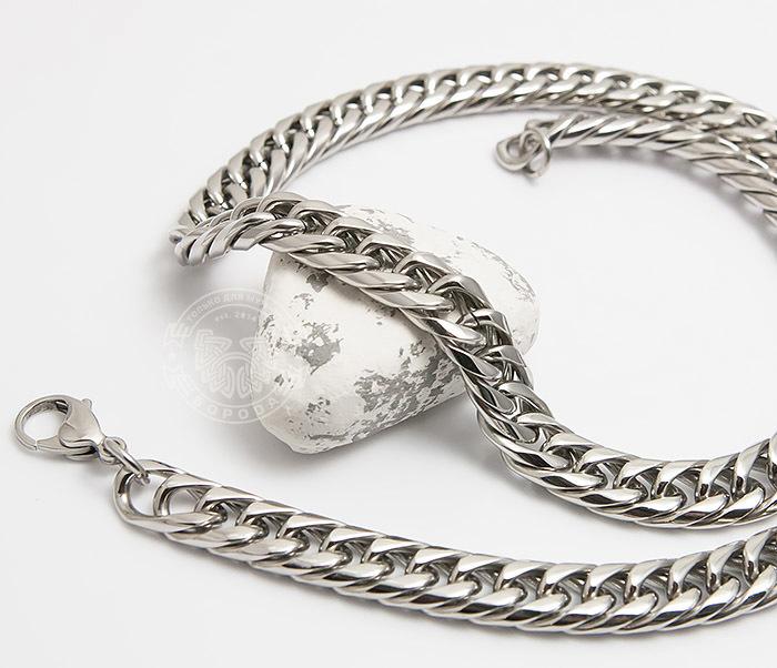 PM243 Красивая мужская цепь на шею из ювелирной стали (61 см) фото 04