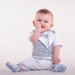 Наряд для мальчика на крещение Маленький принц 2 серый