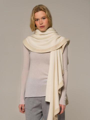 Женский шарф молочного цвета из шерсти и кашемира - фото 2