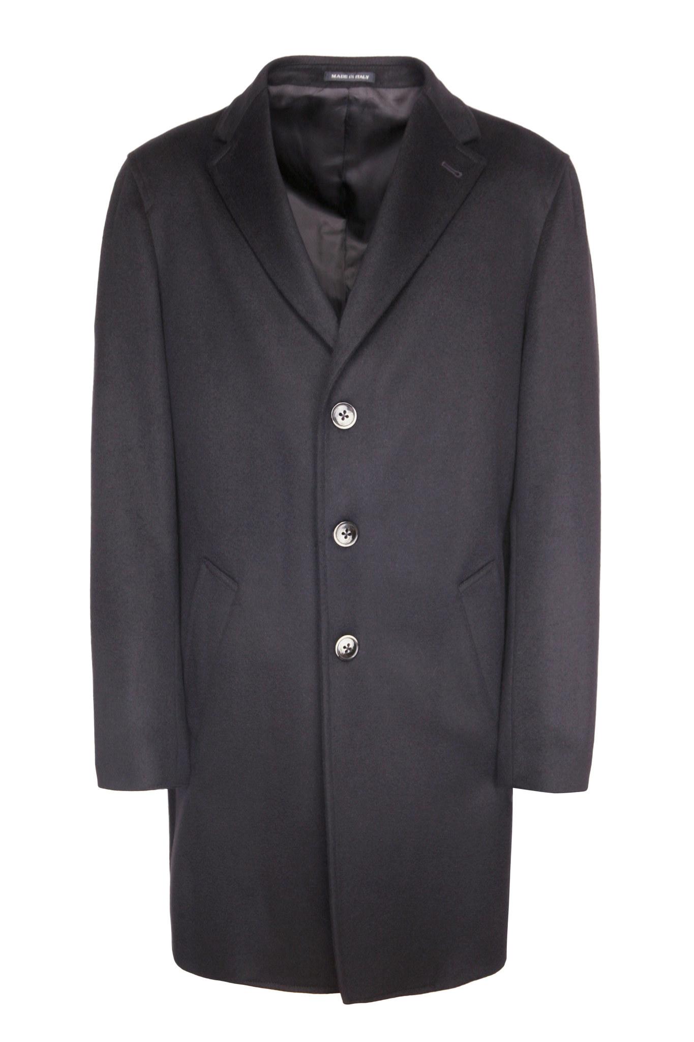 Классическое иссиня-чёрное пальто из натуральной шерсти с поясом