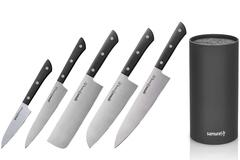 Набор из 5 ножей Samura Harakiri Black и браш-подставки (упакованы отдельно)