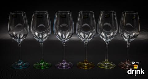 Набор из 6 бокалов для вина с цветным дном