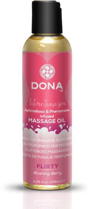 Массажные масла и свечи: Массажное масло с феромонами DONA Flirty Blushing Berry - 125 мл.