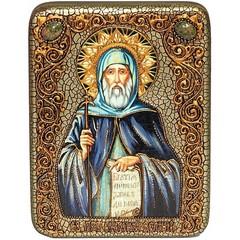 Инкрустированная икона Преподобный Антоний Великий 20х15см на натуральном дереве, в подарочной коробке