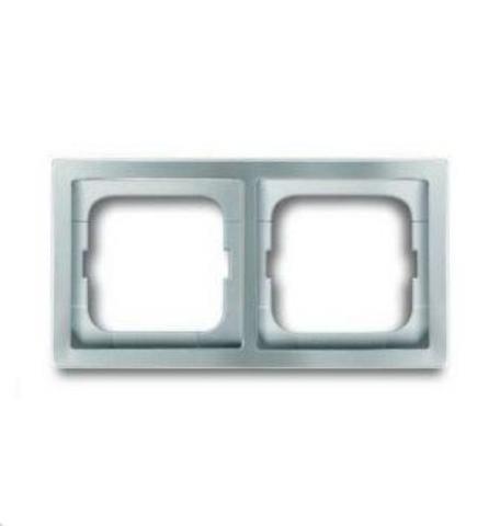 Рамка на 2 поста. Цвет Нержавеющая сталь. ABB(АББ). Pure Сталь(Пьёр Сталь). 1754-0-4501