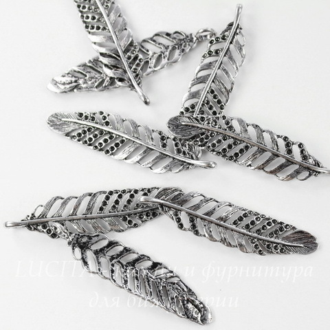 "Подвеска ""Перо"" 46х11 мм (цвет - античное серебро)"