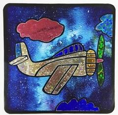 Самолетик в облаках-аппликация цветной фольгой, MH002