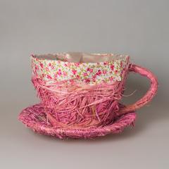 Кашпо чашка розовая 7648 большая