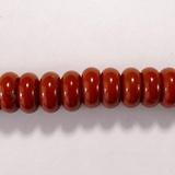 Бусина из яшмы красной, фигурная, 6x12 мм (рондель, гладкая)