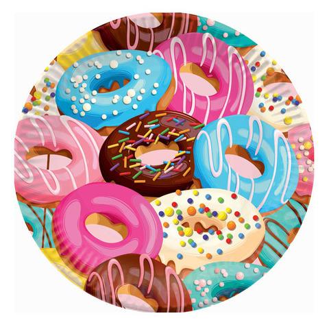 Тарелки бумажные Пончики 18см 6шт