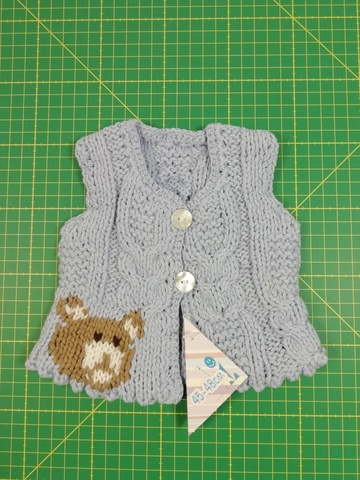 Вязаный жилет (дисконт) - Голубой. Одежда для кукол, пупсов и мягких игрушек.