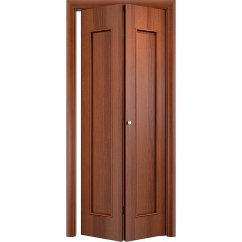 Складная дверь Тиффани итальянский орех без стекла