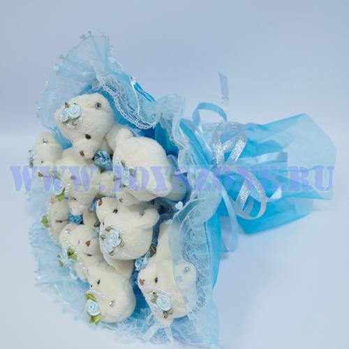 Букет из 9 нарядных мишек — Голубой