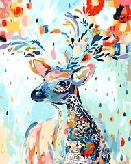 Картина раскраска по номерам 30x40 Разноцветный олень ...