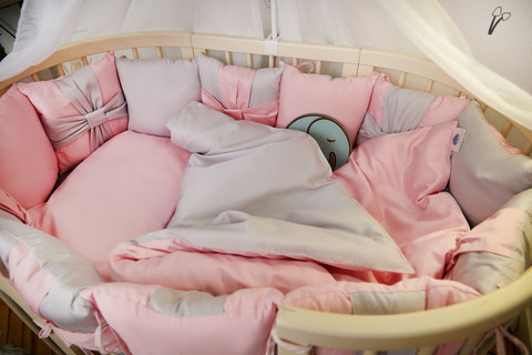 Комплект детского постельного белья Бантик с балхином в кроватку Розовый с голубым