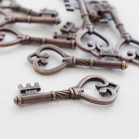 """Подвеска """"Ключик с сердцем"""" 45х18 мм (цвет - античная медь)"""
