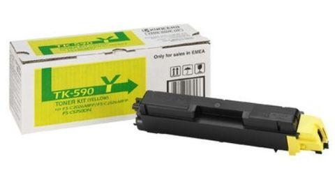 Kyocera TK-590Y - желтый тонер-картридж для принтеров Kyocera FS-C5250DN, FS-C2026MFP, FS-C2026MFP+, FS-C2126MFP, FS-C2126MFP+, FS-C2526MFP, FS-C2626MFP. Ресурс 5000 страниц.
