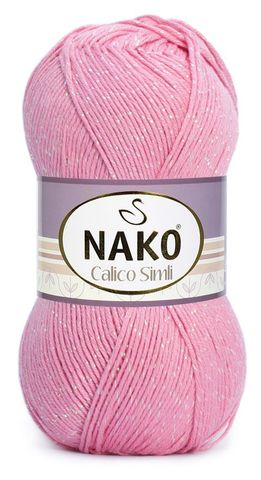 Пряжа Nako Calico Simli розовый 6668