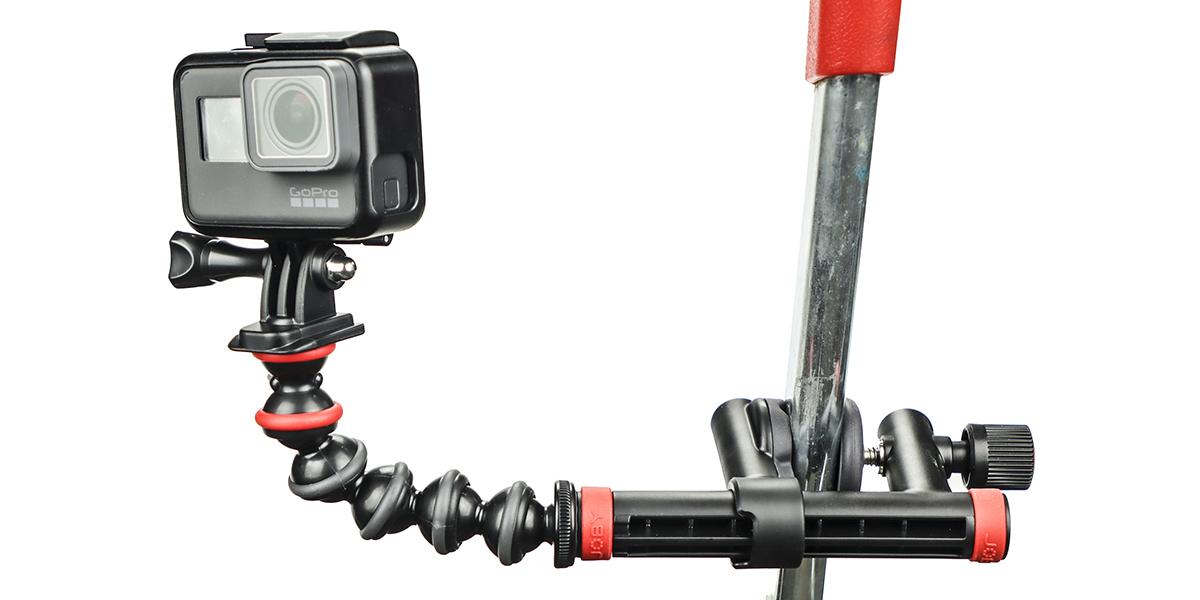 Крепление-струбцина JOBY Action Clamp & Gorillapod Arm пример использования