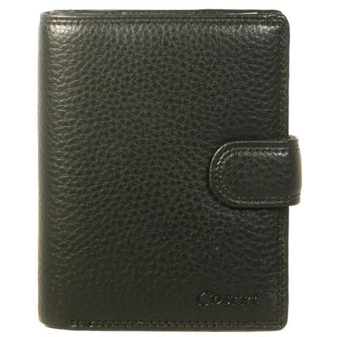 Недорогое и качественное мужское чёрное портмоне для автодокументов паспорта и денег из искусственной кожи заводского производства Cosсet B405-08A