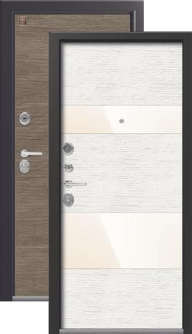 Тёплая дверь входная Легион L-8, 2 замка, 1,5 мм  металл, (серый шёлк+патина крем)