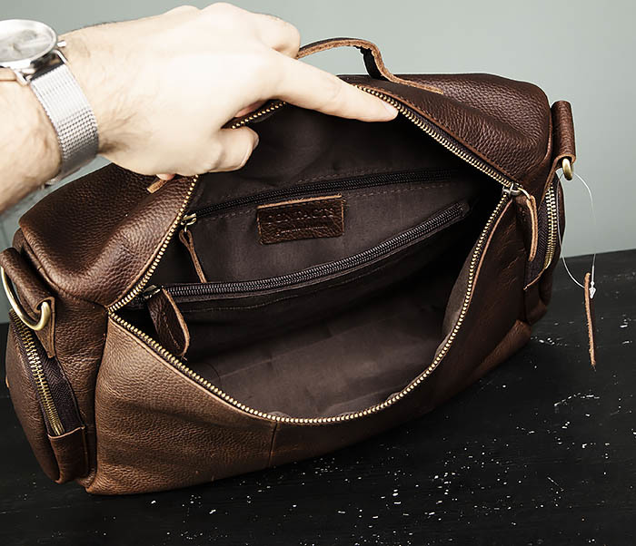 BAG466-2 Мужской портфель из натуральной кожи с ремнем фото 06