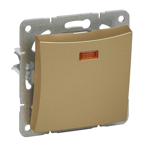 Выключатель одноклавишный с подсветкой (схема 1а) 10 АХ 250 В. Цвет Шампань. Schneider Electric(Шнайдер электрик). Duet(Дует). WDE000413