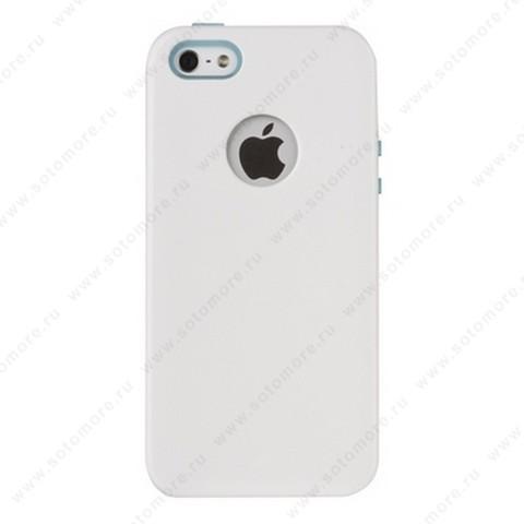 Накладка REMAX для iPhone SE/ 5s/ 5C/ 5 с отверстием под яблоко белая с голубым кантом