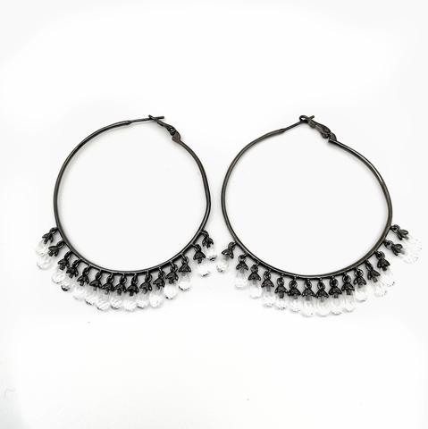 Серьги-кольца Drop из чёрного серебра с подвесками