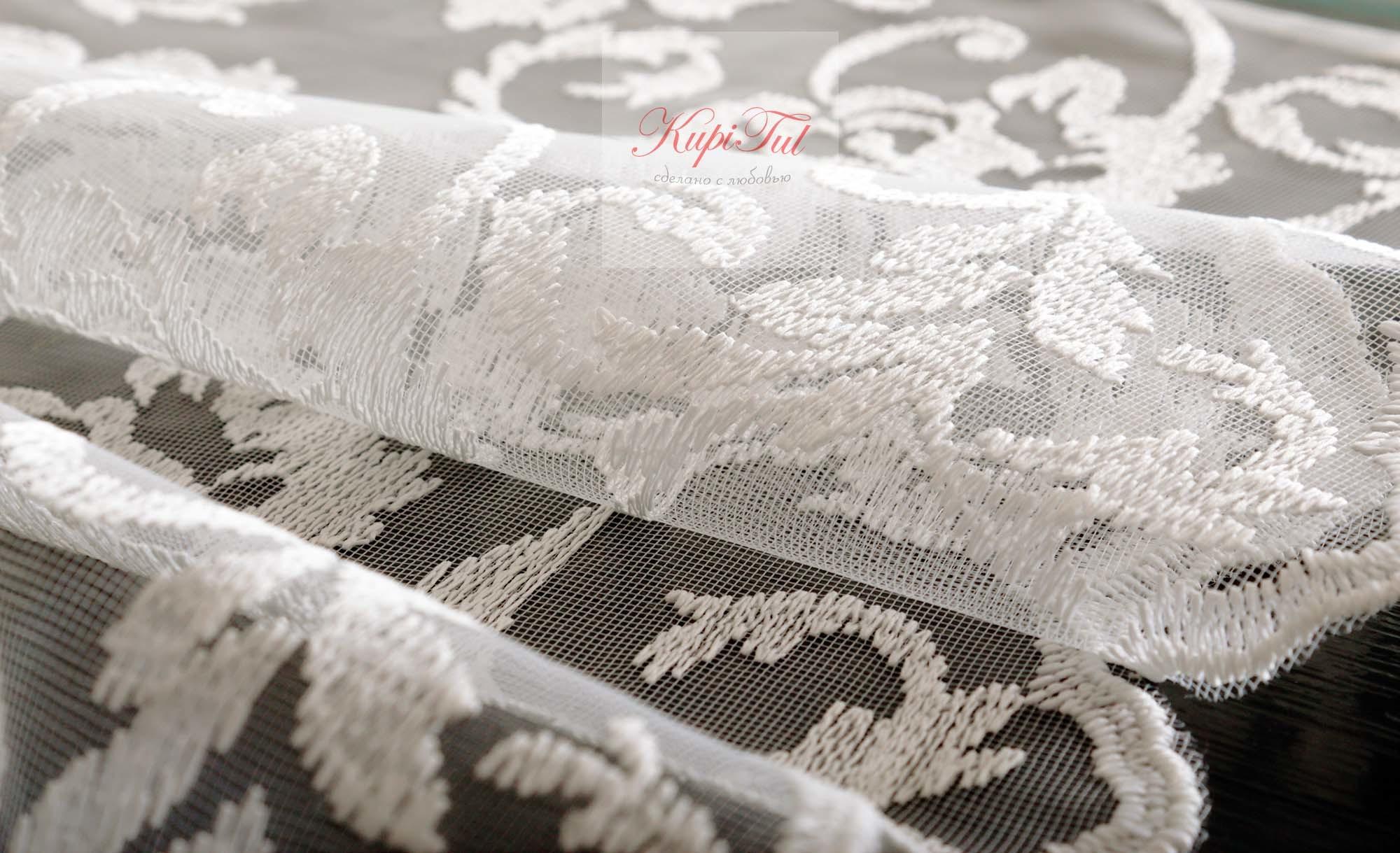 Микросетка с матовой вышивкой Мери (молочная)